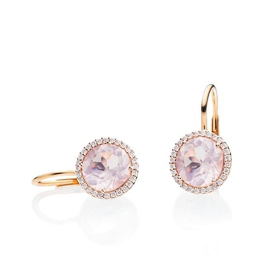 """Ohrhänger """"Espressivo"""" 750RG, Rosenquarz facettiert Ø 9.0 mm, 56 Diamanten Brillant-Schliff 0.20ct TW/si"""