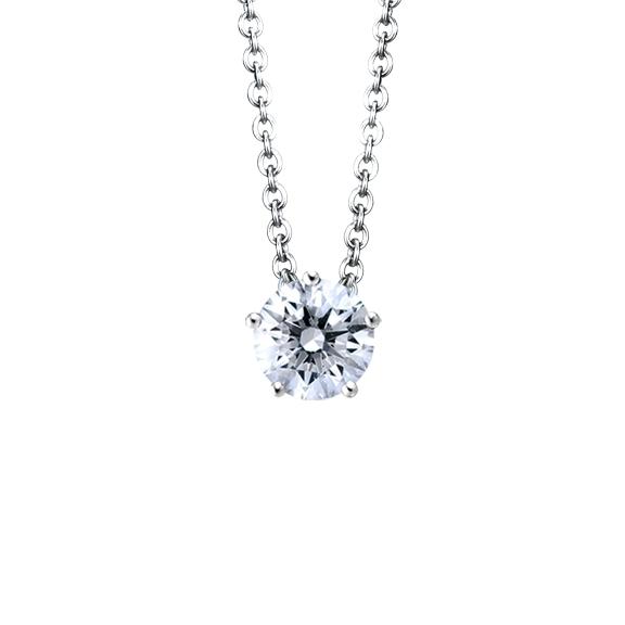 """Collier """"Diamante in Amore"""" 750WG 5-er Krappe, 1 Diamant Brillant-Schliff 0.50ct TW/vs1 GIA Zertifikat, Länge 45.0 cm, Zwischenöse bei 42.0 cm"""