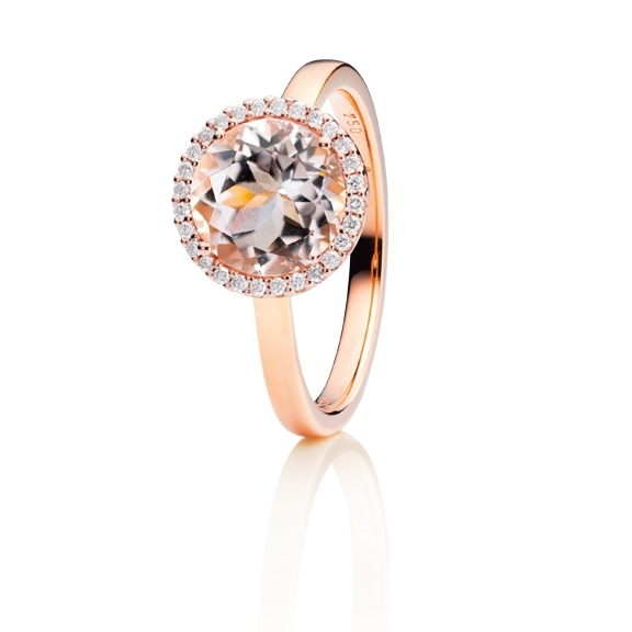 "Ring ""Espressivo"" 750RG, Morganit facettiert Ø 9.0 mm, 28 Diamanten Brillant-Schliff 0.10ct TW/si"