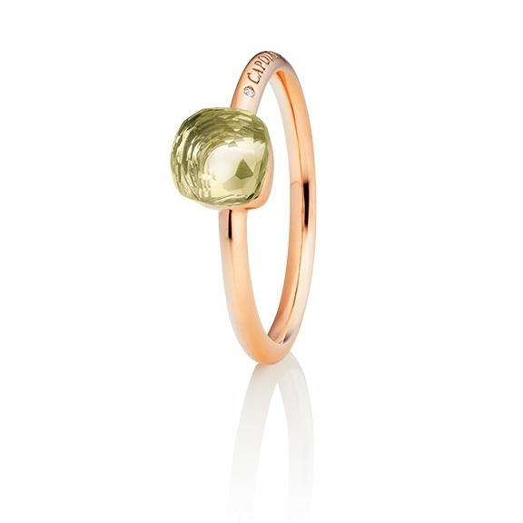 "Ring ""Happy Holi"" 750RG, Lemon Quarz Cabochon  6.0 x 6.0 mm facettiert ca. 1.80ct, 1 Diamant Brillant-Schliff 0.004ct TW/vs1"