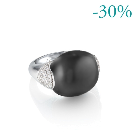 "Ring ""Tramonto"" 750WG, Achat grau Cabochon ca. 24.00ct, Diamanten Brillant-Schliff 0.77ct TW/vs"