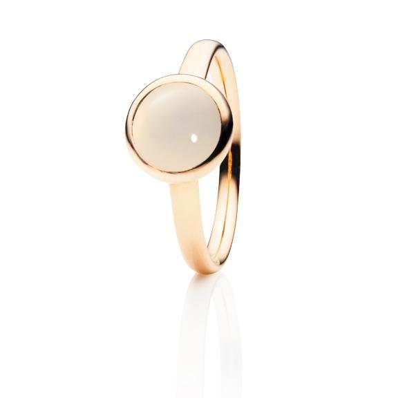 "Ring ""Velluto"" 750RG Mondstein champagner Cabochon Ø 8.0 mm ca. 2.00ct"