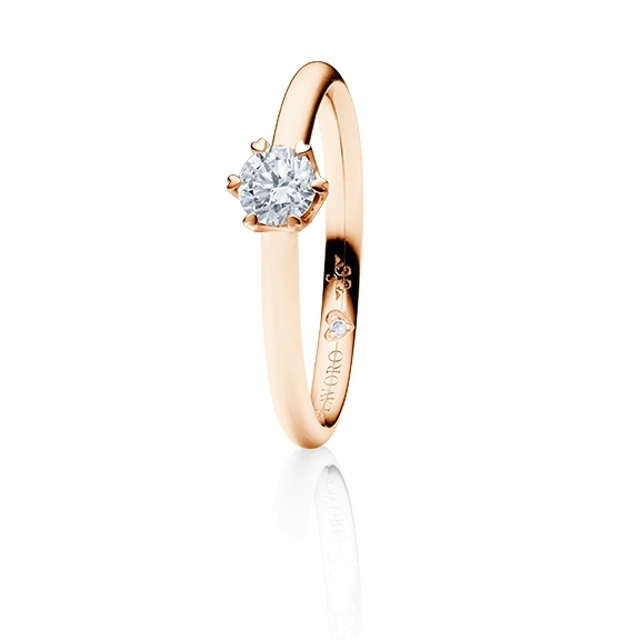 "Ring ""True Love"" 750RG 6-er Krappe mit seitl. WG-Herz, 1 Diamant Brillant-Schliff 0.33ct TW/vs1 GIA Zertifikat, 1 Diamant Brillant-Schliff 0.005ct TW/vs1"