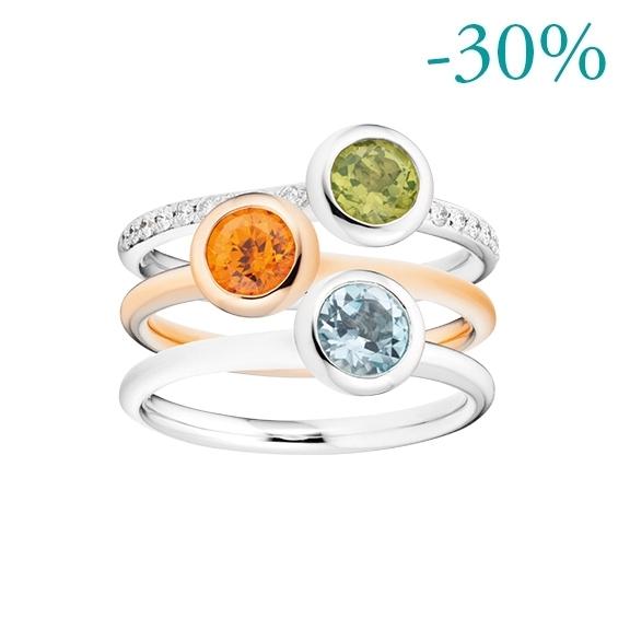Ring Set 750RG/WG mit Peridot, Mandarin Granat und Topas