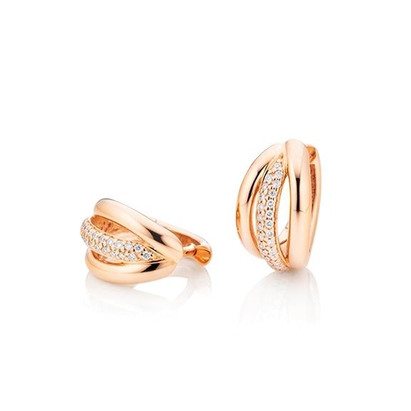 "Ohrcreolen ""Cielo"" 750RG, 60 Diamanten Brillant-Schliff 0.18ct TW/si"