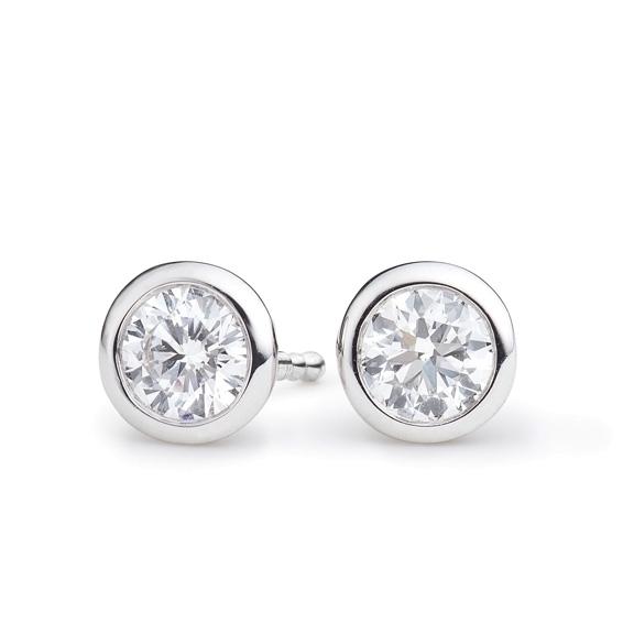 """Ohrstecker """"Classico"""" 750WG Zargenfassung, 2 Diamanten Brillant-Schliff 0.80ct TW/vs1, GIA Zertifikat"""