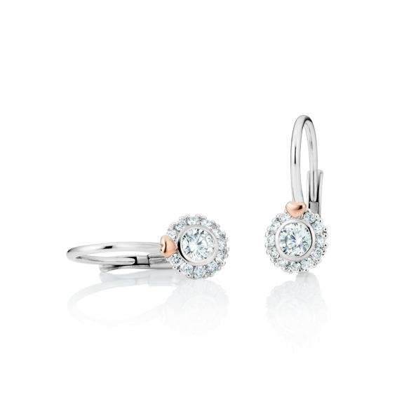 "Ohrhänger ""My Love"" 750WG mit RG-Herz, 2 Diamanten Brillant-Schliff 0.30ct TW/vs1, 22 Diamanten Brillant-Schliff 0.16ct TW/vs1"