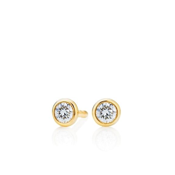 """Ohrstecker """"Classico"""" 750GG Zargenfassung, 2 Diamanten Brillant-Schliff 0.15ct TW/si"""
