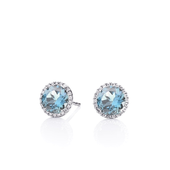 "Ohrstecker ""Espressivo"" 750WG, Topas sky blue facettiert Ø 6.0 mm ca.2.00ct, 44 Diamanten Brillant-Schliff 0.12ct TW/si"