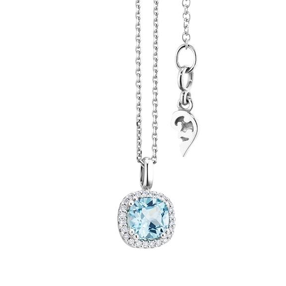 "Anhänger ""Espressivo"" 750WG, Topas sky blue antik 6.0 x 6.0 mm ca. 1.20ct, 24 Diamanten Brillant-Schliff 0.07ct TW/si"