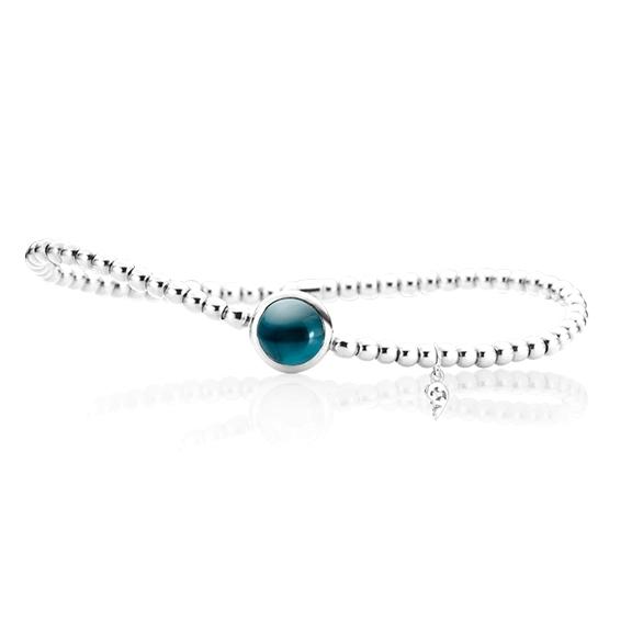 "Armband ""Velluto"" 750WG, Topas London blue Cabochon Ø 8.0 mm ca. 2.0ct, Innenumfang 17.0 cm"
