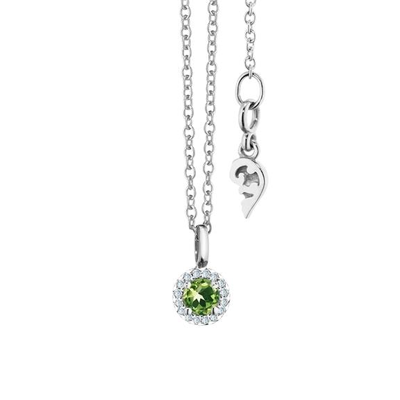 """Collier """"Espressivo"""" 750WG Peridot rund fac. Ø 4.0 mm, 16 Diamanten Brillant-Schliff 0.04ct TW/si, Länge 45.0 cm Zwischenöse bei 42.0 cm"""